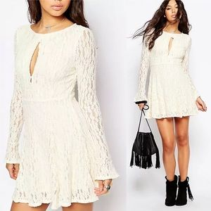 Free People Teen Witch Lace Fit Flare Mini Dress